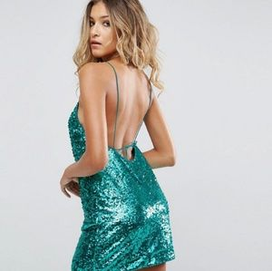 ASOS Green Sequin Open Back Mini Dress
